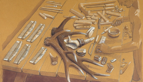 Ben- og kammagerens værksted. Tegning af Flemming Bau