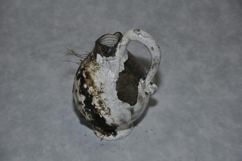 Glaseret lertøjskande. Foto: Morten Johansen, Vikingeskibsmuseet