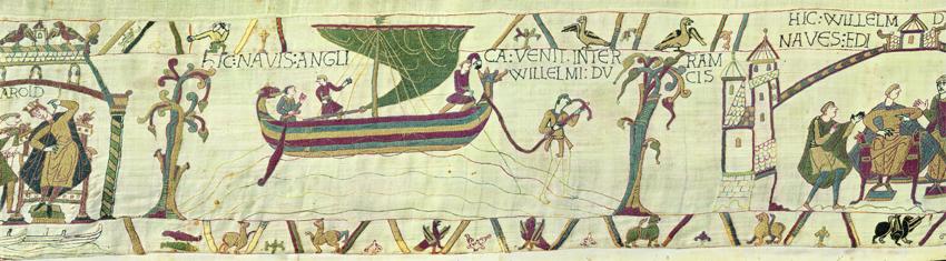 Scene fra Bayeux Tapetet, et billedtæppe fra 1000-tallet. Manden i forstævnen måler vanddybden med en stage. Vist med speciel tilladelse fra byen Bayeux.