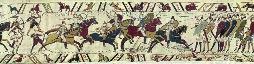 Det næsten 80 m lange vægtæppe Bayeuxtapetet fra 1000-tallet viser kampscenerne fra Slaget ved Hastings. Vist med speciel tilladelse fra byen Bayeux.