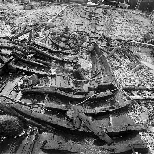 Billeder fra udgravningen af Skuldelevskibene.