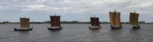 Vikingeskibsmuseets fem rekonstruktioner af Skuldelevskibene, juni 2007. Foto Werner Karrasch