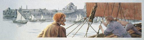 Vikinger ankommer til Konstantinopel, vore dages Istanbul. Læg mærke til Hagia Sofia i baggrunden. Illustration: Flemming Bau. © Vikingeskibsmuseet.
