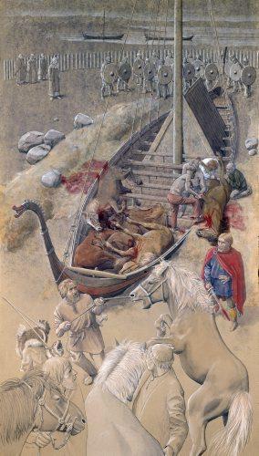 Var det mon en høvding eller konge, der blev begravet i den rige Skibsgrav ved Ladby? Illustration: Flemming Bau. © Vikingeskibsmuseet.