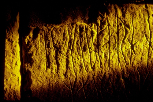 The runic writing onthe inside walls in the mount. Photo: Visit Orkney