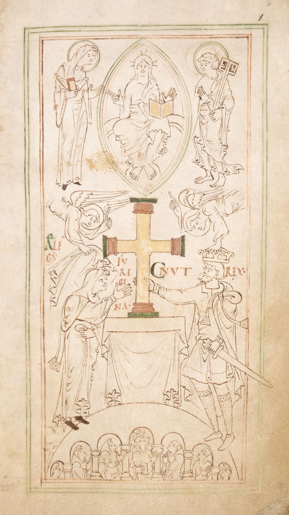 New Minster Liber Vitae er en kirkelig mindebog fra cirka 1031. I den findes et samtidigt billede af Knud den Store. © British Library Board. All Rights Reserved.