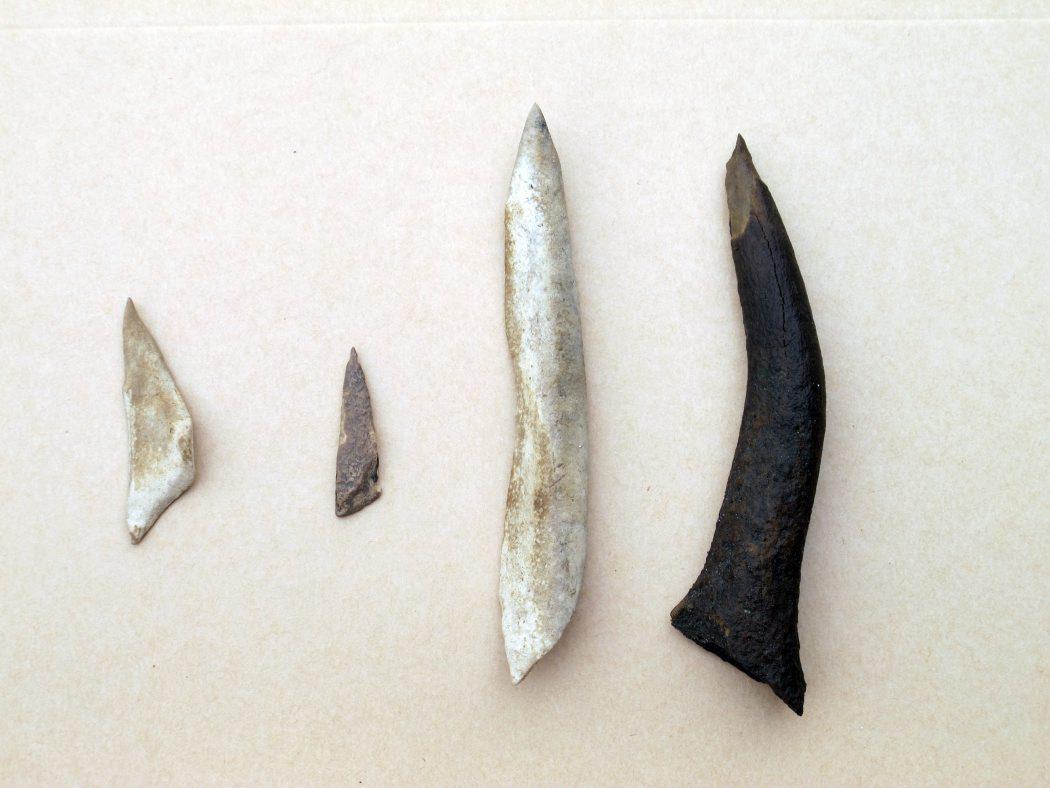 Genstande som benspidser og trykstokke finder arkæologer ikke på bopladserne på land. Det er de særlige bevaringsforhold med meget lidt ilt, der gør de submarine bopladser så fundrige. Foto: Jørgen Dencker.