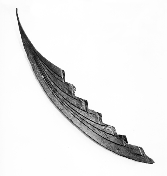 Stævn fra Skuldelev 3, det lille handelsskib fundet i Roskilde Fjord. Stævnen ligner i udformning og mønster forstævnene fra Eigg. Foto: Vikingeskibsmuseet