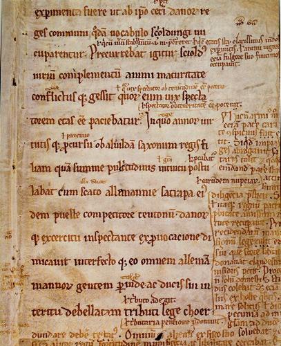 "Saxo manuskriptside "" Fragmentet fra Angers"". Det Kongelige Bibliotek, Håndskriftsafdelingen"