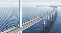 Fremtidstegning af Ny Storstrømsbro. Ophavsretten tilhører Vejdirektoratet