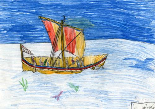 Kia har virkelig fået øje på hvordan sejlet og skibets rigning spiller sammen og så var dommerne imponeret over perspektivet og detaljerigdommen på tegningen. Tegning: Kia Nielsen