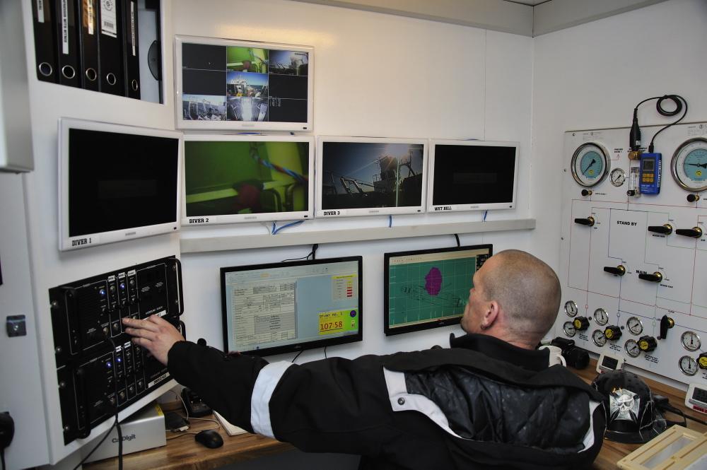 Et kig ind i dykkerleder-containeren, hvor dykkerleder Morten Baun (JD-contractor) overvåger arbejdet på bunden via kameraer på dykkernes hjelme. Foto: Morten Johansen