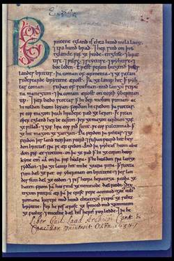 Den første side i Peterborough-krøniken, en afskrift fra ca. 1150 af en ældre version af Den angelsaksiske krønike