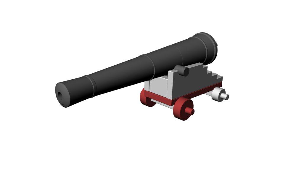 3D-modellen af 'Kanon 1' placeret på den rekonstruerede rapert. Grafik: Frederik Hyttel, Vikingeskibsmuseet.