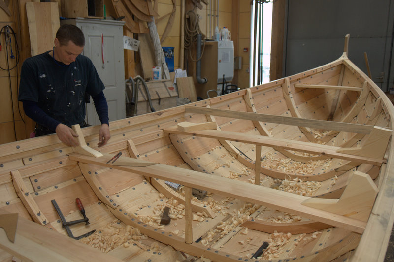The Viking Ship Museum's boatyard built a Faroese 'seksæring' for the Museum's sailing service.