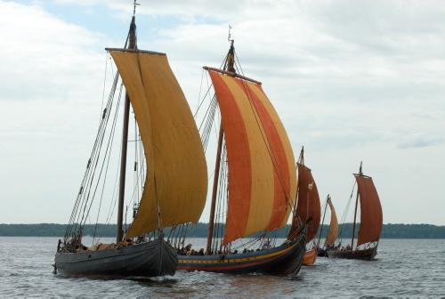 Familiefoto af Vikingeskibsmuseets fem rekonstruktioner. Foto: Werner Karrasch, Vikingeskibsmuseet