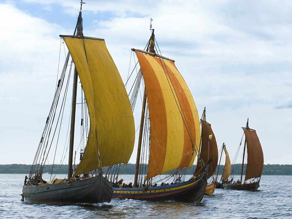 De fem Skuldelev rekonstruktioner, Ottar, Havhingsten fra Glendalough, Helge Ask, Roar Ege og Kraka Fyr sejler sammen på Roskilde Fjord.
