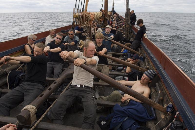 Besætningen på Havhingsten tager fat ved årene. Foto: Werner Karrasch
