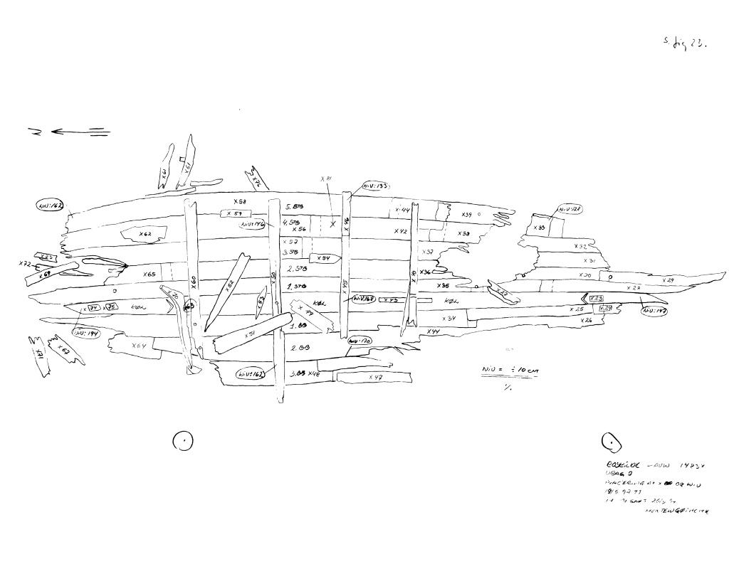 Tegning af fundet af Skuldelev 7