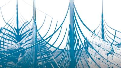 Særudstillingen I Vikingernes Kølvand er fortællingen om, hvordan de fem Skuldelevskibe har formet Vikingeskibsmuseet: Hvordan det enestående fund har haft afgørende betydning for marinarkæologien i Danmark.