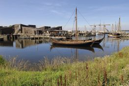 Viking ship reconstructions in the Museum Harbour. Photo Werner Karrasch