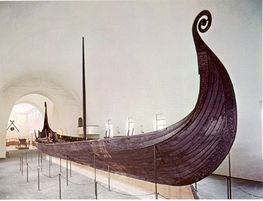 The detailed 1:10 scale model of the Oseberg Ship is planked-up