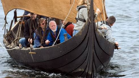 Kraka Fyr. A Viking ship, you can sail in Roskilde, Denmark