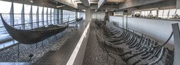Click at the photo to have a look into the Viking Ship Hall through Google Street View.