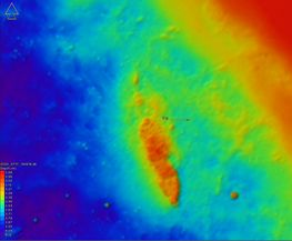 Multi-beam measurement of sea depths. On the scan, the wreck appears clearly. Data: Femern A/S
