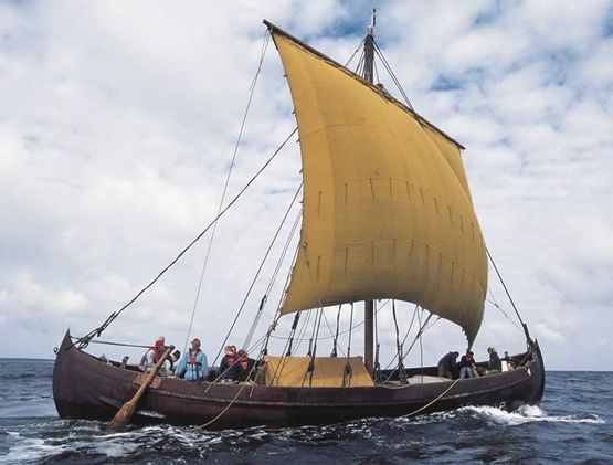 Ottar is a reconstruction of Skuldelev 1. The original ship was built in Sognefjord, Western Norway, around the year 1030, while Ottar was built at the Viking Ship Museum in Roskilde in 1999-2000. Ottar can carry about 20 tons, has square sails and a crew