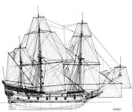 Reconstruction drawing of the warship FIDES, which was of approximately the same type of size as Delmenhorst. Drawing: N.M. Probst